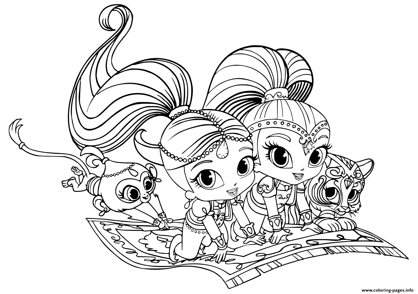 coloring pages shimmer and shine Print Shimmer and Shine Pets coloring pages | Printable coloring pages coloring pages shimmer and shine