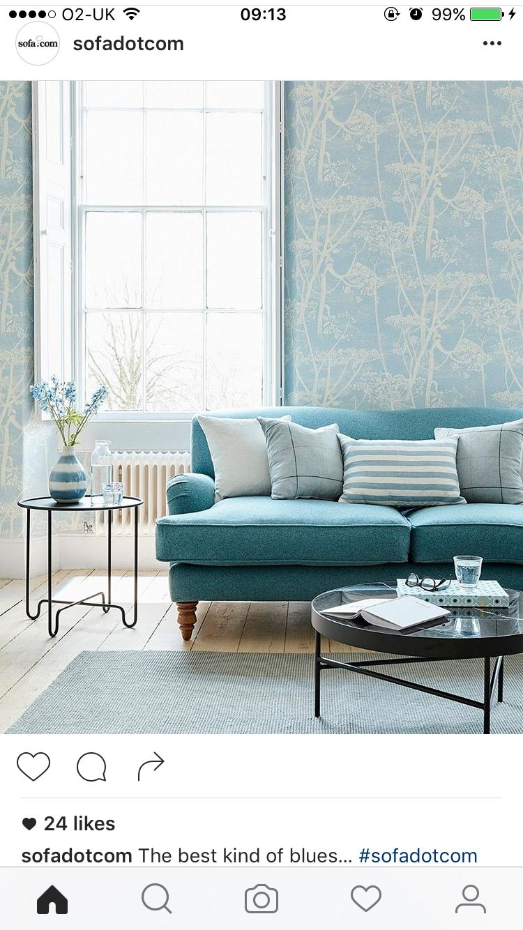 Cole And Son Cow Parsley Wallpaper In Blue Blue Sofas Living Room Blue Wallpaper Living Room Light Blue Living Room