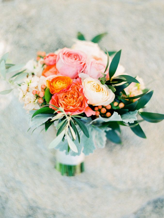 Colorful orange + pink bouquet: http://www.stylemepretty.com/little-black-book-blog/2016/06/21/youll-never-believe-what-this-brides-engagement-ring-is-made-of/ | Photography: Elyse Hall Photography - http://elysehall.com/