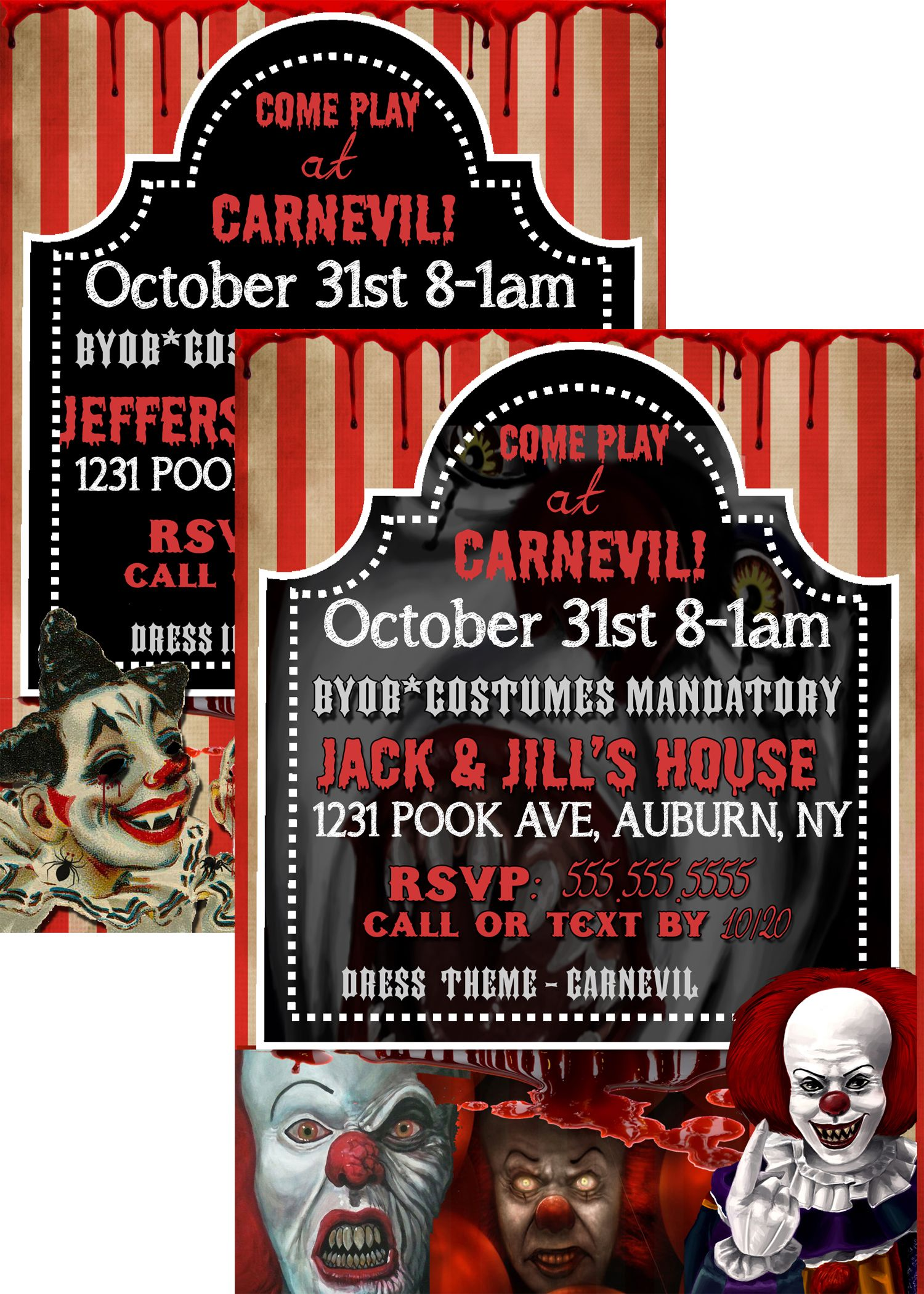 Evil Clown Party Invite, Pennywise Halloween Invitations, Unique ...