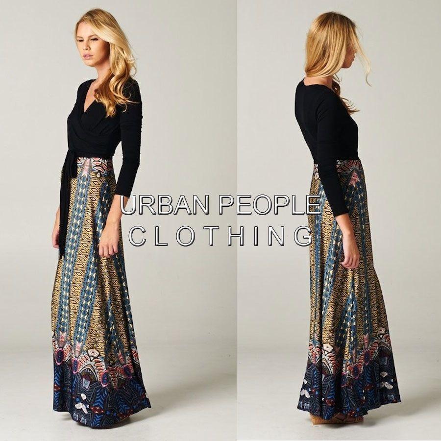 MEDITERRANEAN BLACK Wrap Maxi Dress S/M/L Made In USA Urban PEOPLE ...