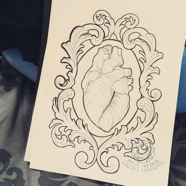 Real Heart In Frame Tattoo Design By Agatha Chest tattoos