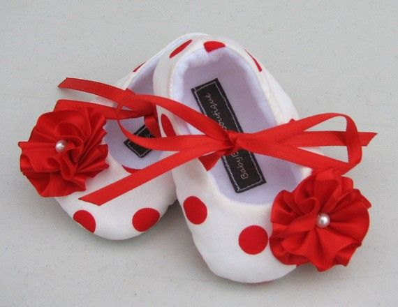 Red & White Polka Dot Baby Shoes