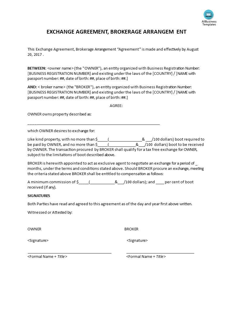 Exchange Agreement Brokerage Agreement En 2020 Con Imagenes