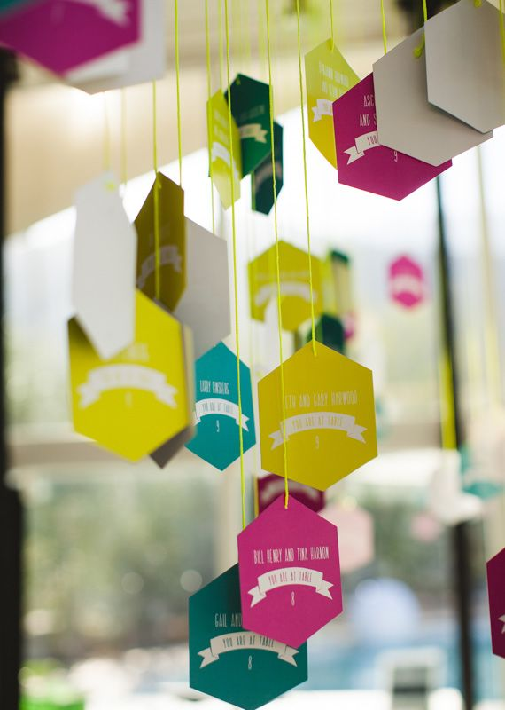 Modern hanging escort cards | Photos by EP Love | 100 Layer Cake | @Carol Van De Maele Pearce Khan, PLEASE