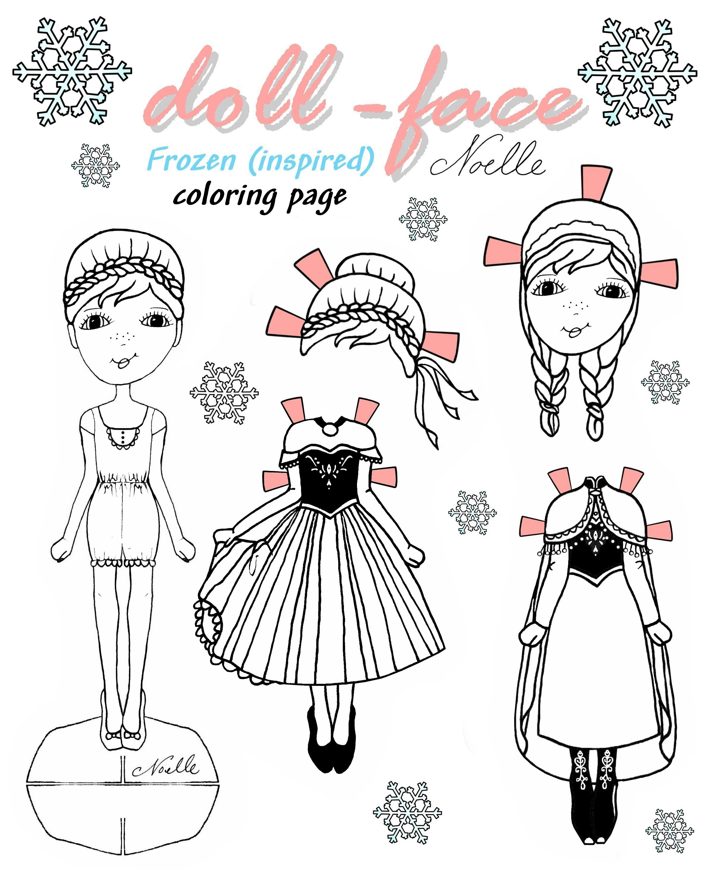 Little princess coloring pages - Doll Face Anna Coloring Page Diy Frozen Inspired Paper Doll Coloring
