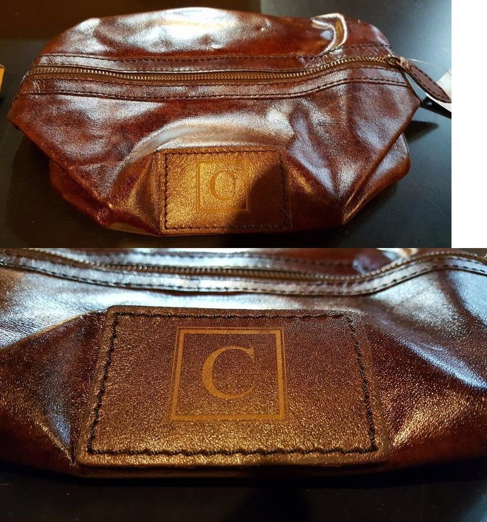 Women Bags And Accessories: Pottery Barn Saddle Leather Toiletry Case Chocolate Monogrammed C Brand New BUY IT NOW ONLY: $48.99