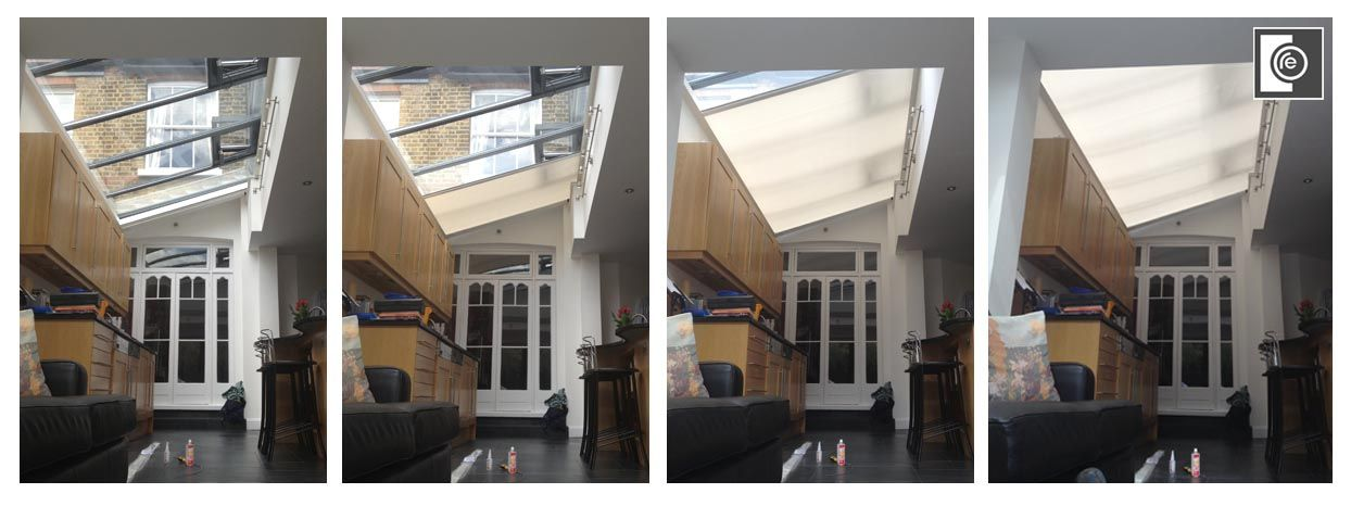 blinds london lutron blackout rooflight big large glass office - Rooflight blinds