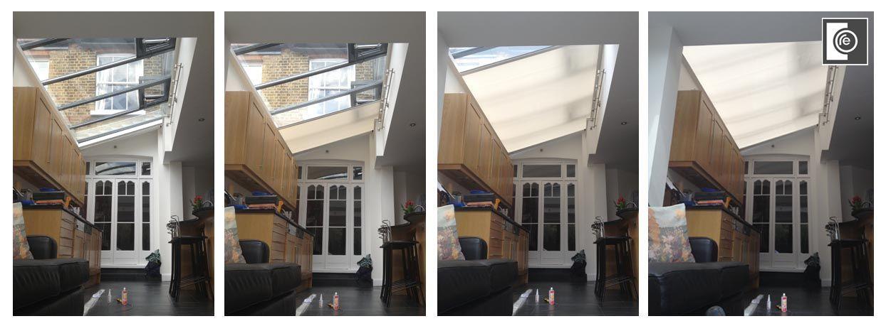 blinds london lutron blackout rooflight big large glass office - Rooflight blinds