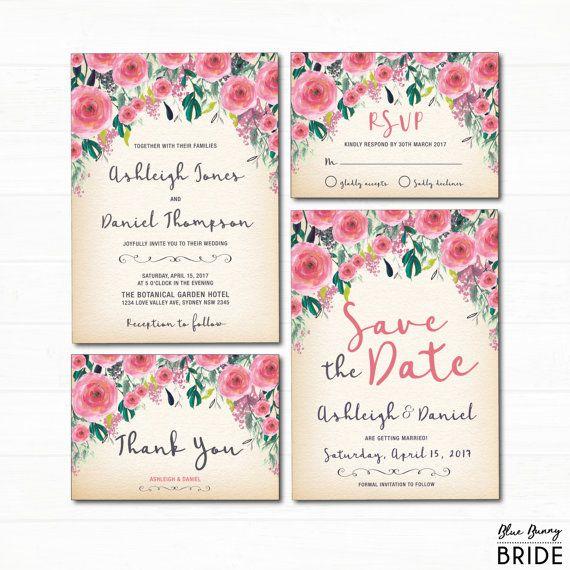 rustic pink floral wedding invitation retro watercolor flowers invite diy garden wedding