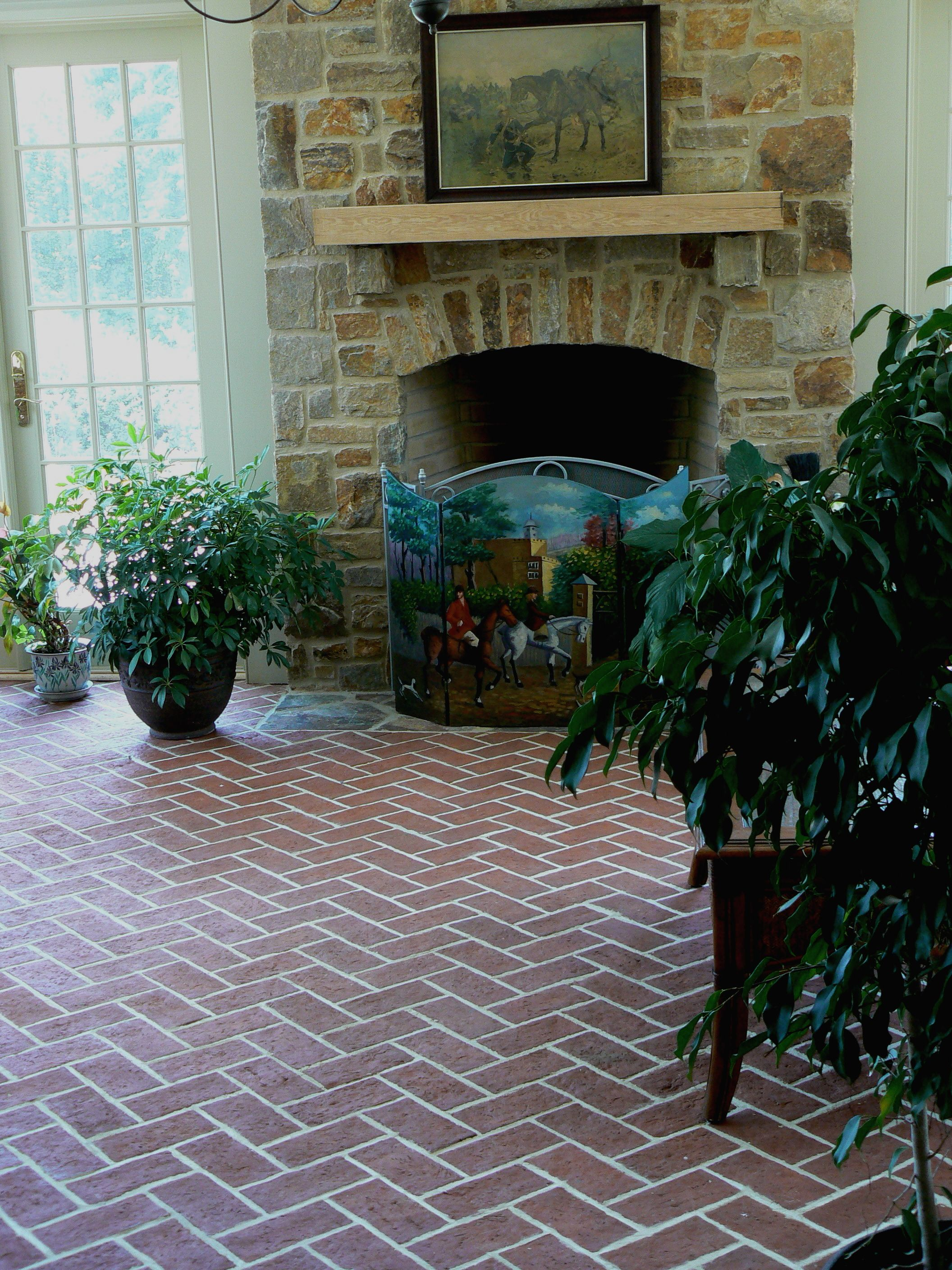 Family room wrights ferry brick tile floor old strasburg color family room wrights ferry brick tile floor old strasburg color mix herringbone installation dailygadgetfo Image collections