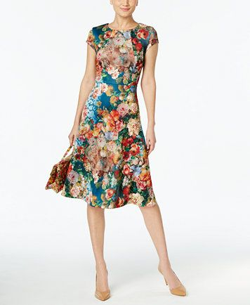 5ada2651ee9 ECI Floral-Print A-Line Scuba Dress