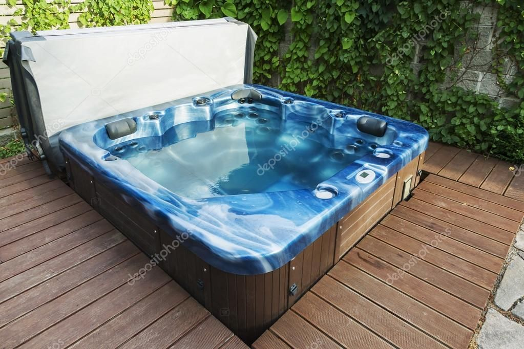 Outdoor hot tub, jacuzzi on the garden - Stock Photo , #AFFILIATE, #tub, #hot, #Outdoor, #jacuzzi #AD #hottubdeck