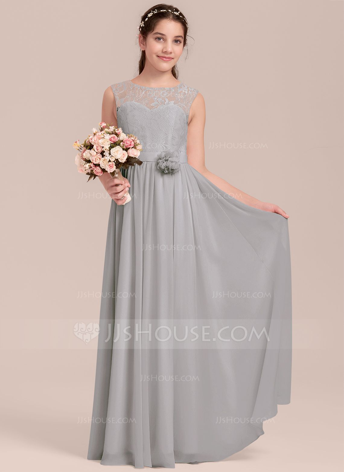 39a21a11f0f A-Line Princess Scoop Neck Floor-Length Chiffon Junior Bridesmaid Dress  With Flower(s) (009130624) - Junior Bridesmaid Dresses - JJsHouse