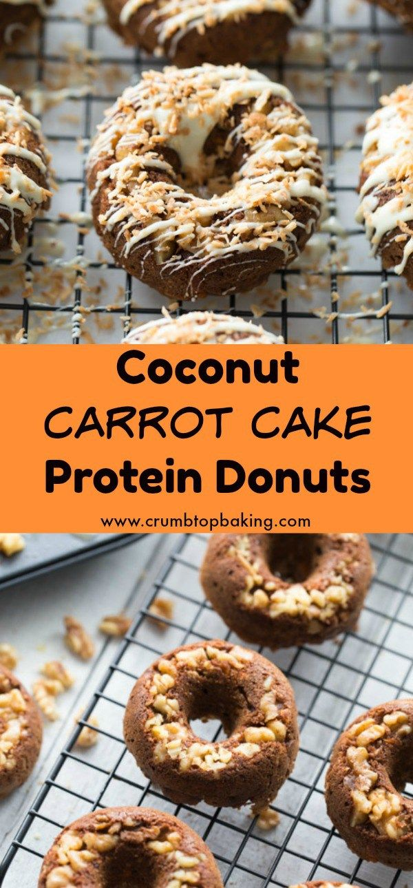 Coconut Carrot Cake Protein Donuts are a clean eating, gluten-free treat with a touch of decadence! They're made with oat flour and protein powder, packed with coconut and cinnamon, and topped with a white chocolate drizzle. #carrotcake #donuts #proteindonuts #coconut #proteindonuts