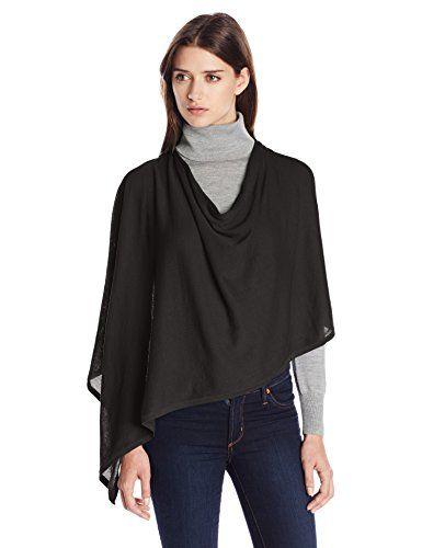 Minnie Rose Women's Cotton Ruana, Black, One Size