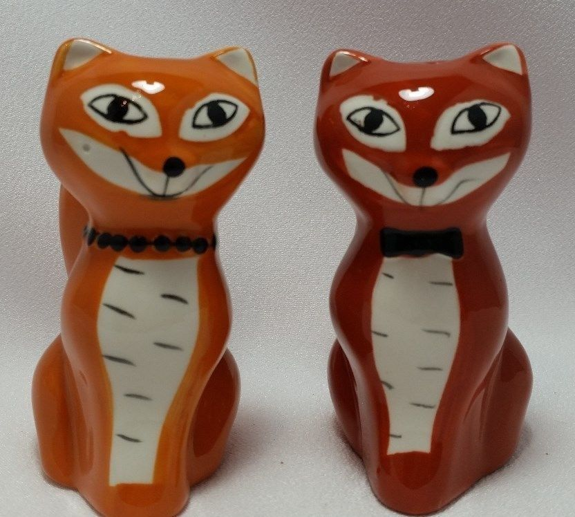 Cat Salt And Pepper Shakers Set 3 D Figural Orange Red Hand Painted Kitty New