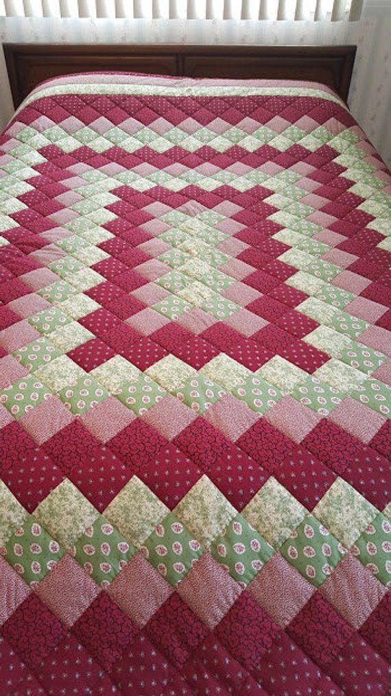 Queen Size Burgundy Green Trip Around The World Hand Quilted Quilt Patchwork Quilt Patterns Hand Quilting Quilt Patterns Free