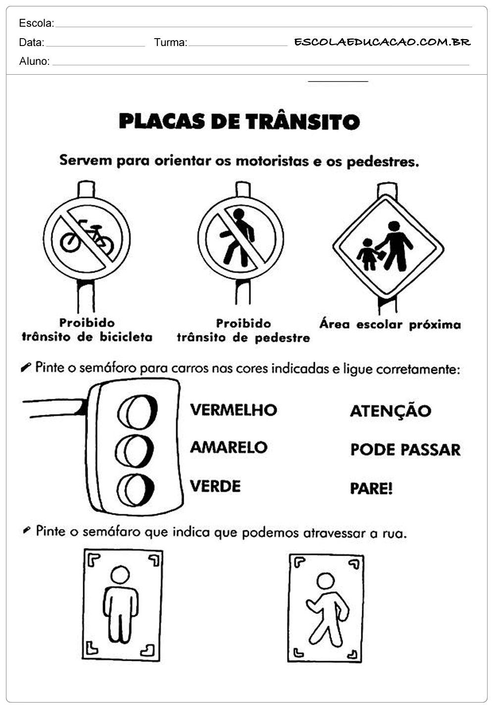 Populares Resultado de imagem para atividades placas de transito educação  WO68
