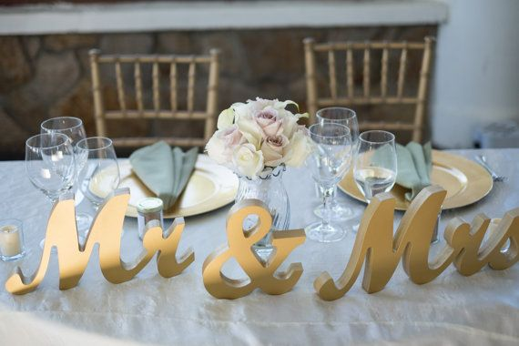 Gold Metallic Mr And Mrs Sign Wedding Sweetheart Table