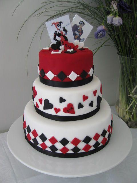 Harlequin Harley Quinn Themed Wedding Cake For A Comic Con Loving