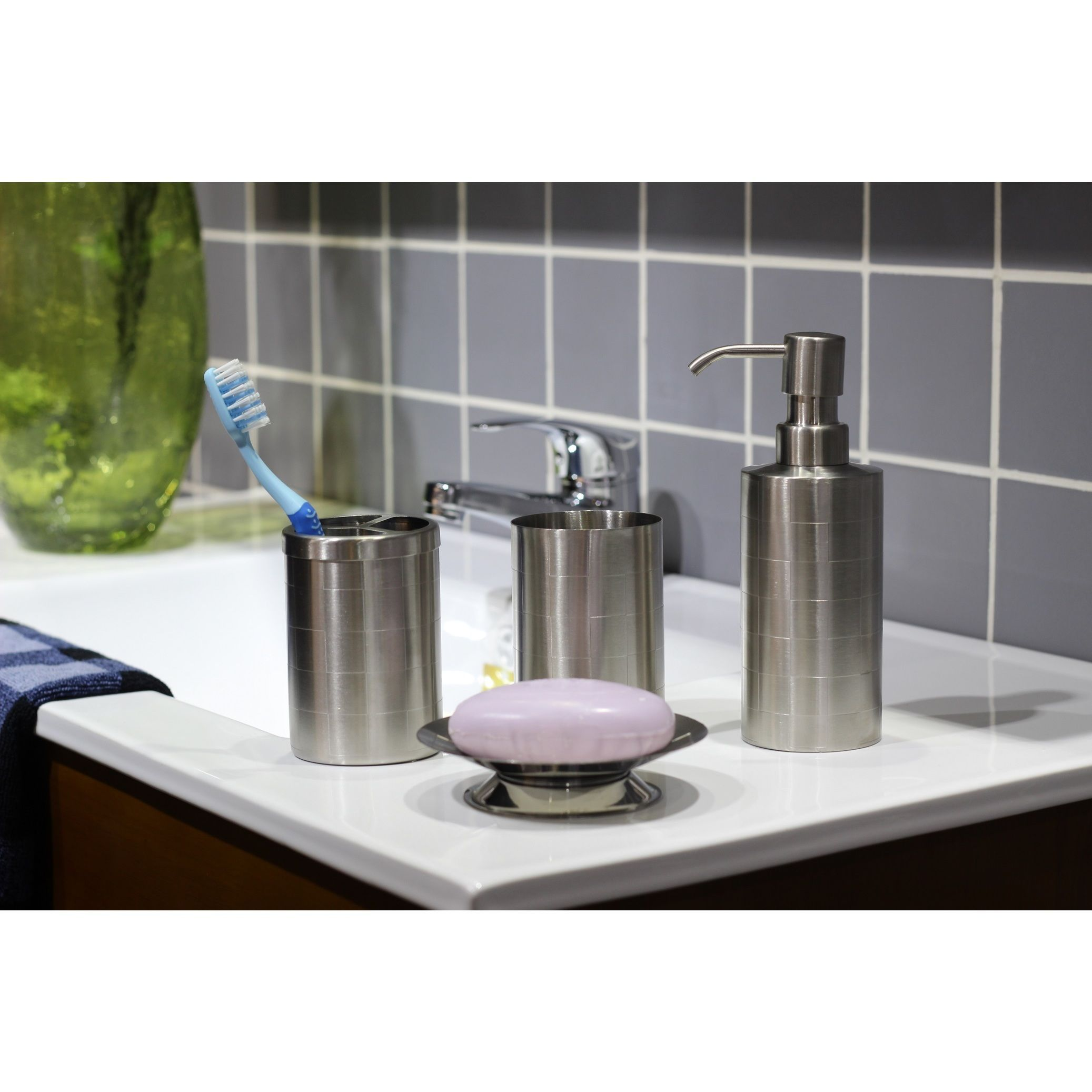 Etched Matte Stainless Steel Bath Accessory 4 Piece Set Steel
