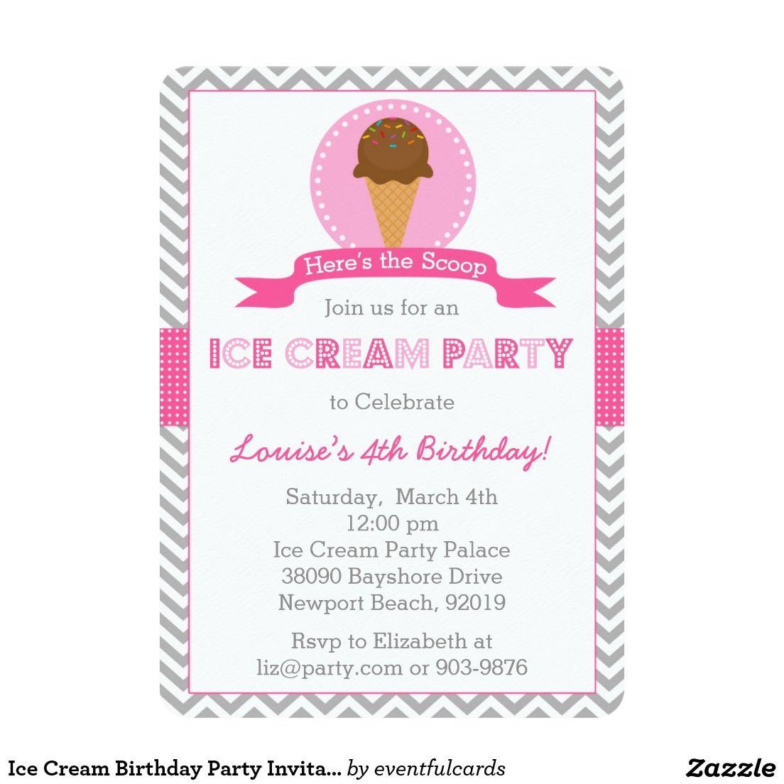 Ice Cream Birthday Party Invitation | National Ice Cream Day ...