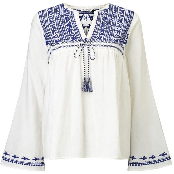 3f4bb582768 Miss Selfridge Embroidered Gypsy Blouse, White (€25) found on Polyvore  featuring women's fashion, tops, blouses, white embroidered blouse, cotton  blouse, ...