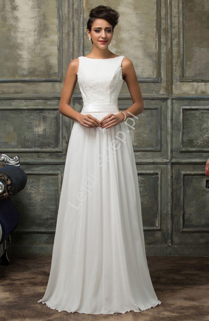 Skromna Biala Suknia Slubna Z Gipiurowa Koronka White Prom Dress Lace White Dress Dresses