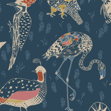 Geo Birds (in Folksy Navy) fabric by nouveau_bohemian on