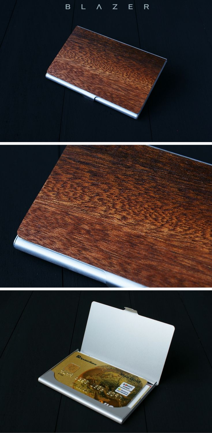 Handcrafted #wood #cardholder made from natural walnut and metal ...