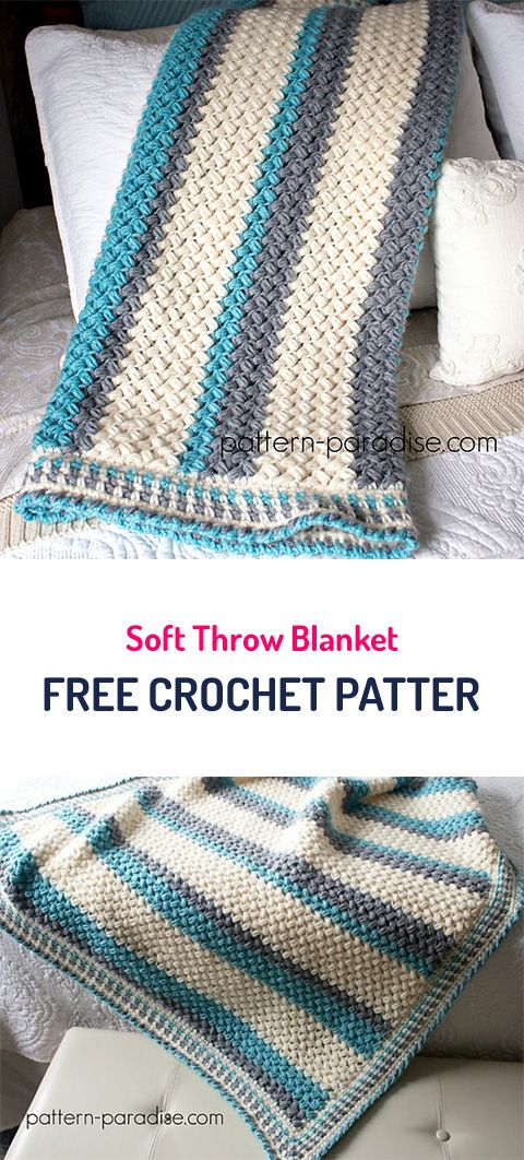 Soft Throw Blanket Free Crochet Pattern #crochet #yarn #blanket ...