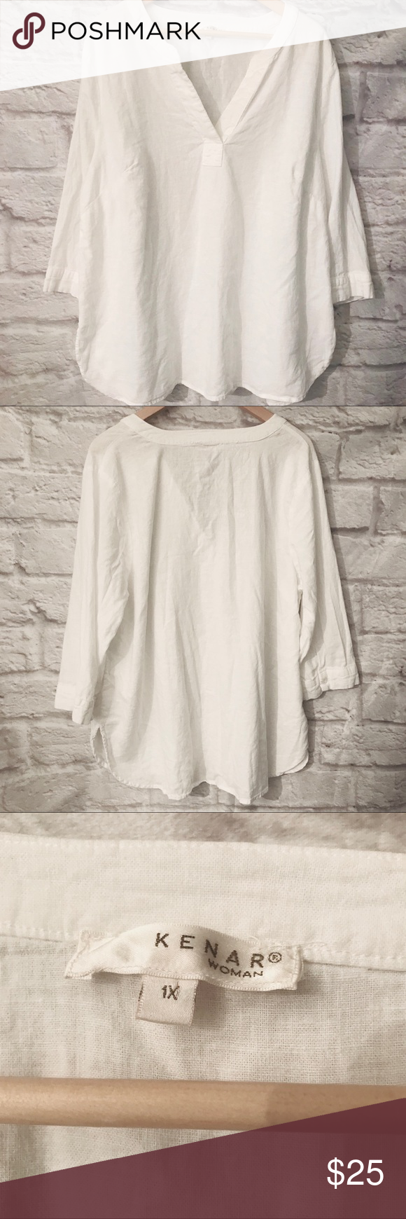 Kenar Line. blend White Shirt This Kenar shirt is a linen and rayon blend that is soft and has a Boho casual style.  Pair with skinny jeans, leggings and ankle boots or sandals or dress up with a statement necklace and palazzo pants or a pencil skirt and heels.  This is in great shape.  Note the close up photo of a thread that is darker. Kenar Tops #skinnyjeansandankleboots