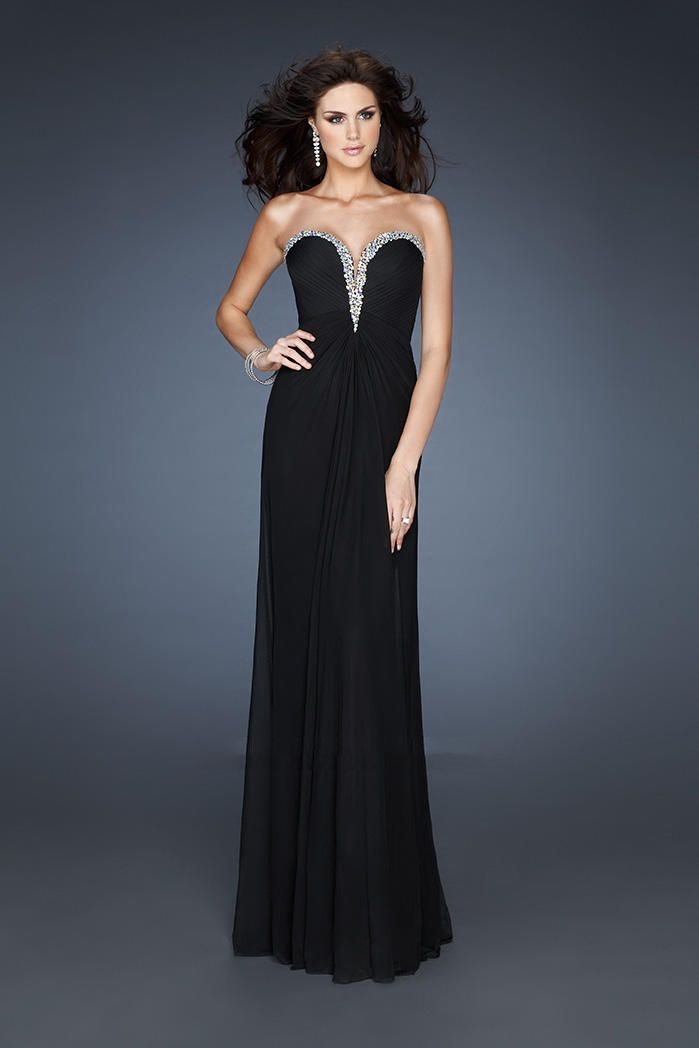 Black Strapless V-Neck Long Chiffon Formal Prom Dresses Cheap ...