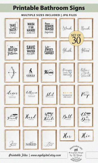 Funny Bathroom Signs Printables Set of 30, Bathroom art, Bath decor, Washroom Posters, Toilet wall art, Powder room prints, restroom signs