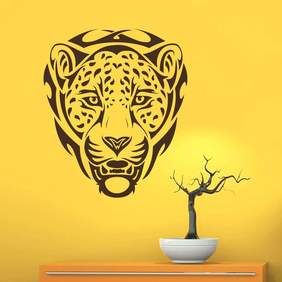 Wall Decals Leopard Wild Animal Head Art Home Living Room Vinyl ...
