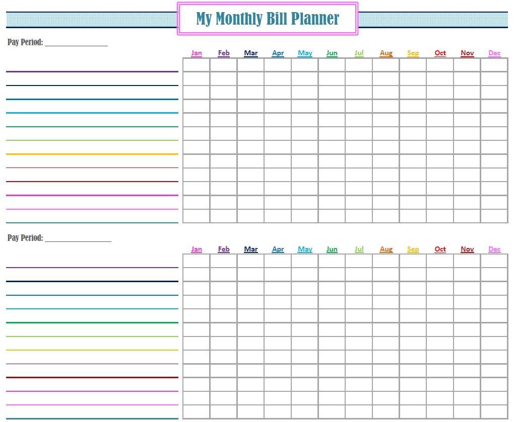 Pay My Bill Organizer Sheet Bill Calendar Bill Planner Templates Printable Free