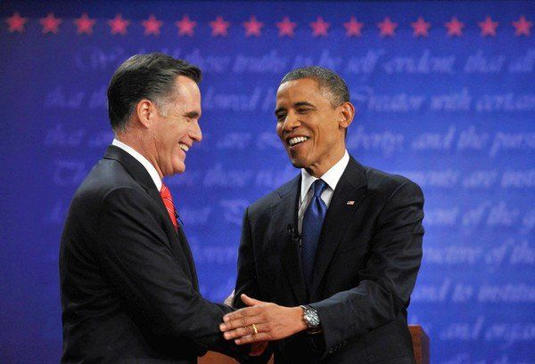 Kinsley: The politics of common sense  10/16  In evaluating the candidates' claims, you can trust your own sweet reason.President Obama, right, and Republican challenger Mitt Romney shake hands following their first debate at the University of Denver in Colo. on Oct. 3. (Nicholas Kamm / AFP/ Getty Images)