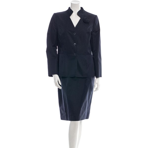 Carolina Herrera Skirt Suit ($195) ❤ liked on Polyvore featuring suits and blue