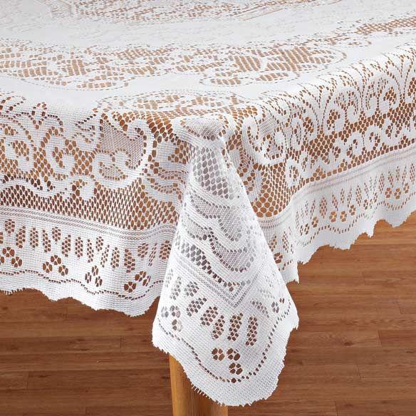 White Fleur De Lis Lace Tablecloth Lace Tablecloth Table Cloth