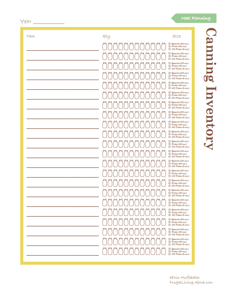 Canning Inventory Template  Canning    Dehydrated Food