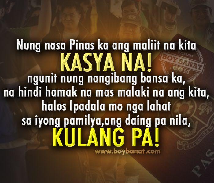 Boy Banat: Tagalog OFW Quotes And Sayings