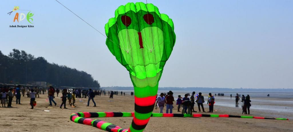 3D Inflatable 120 feet two line Snake kite flown at Daman