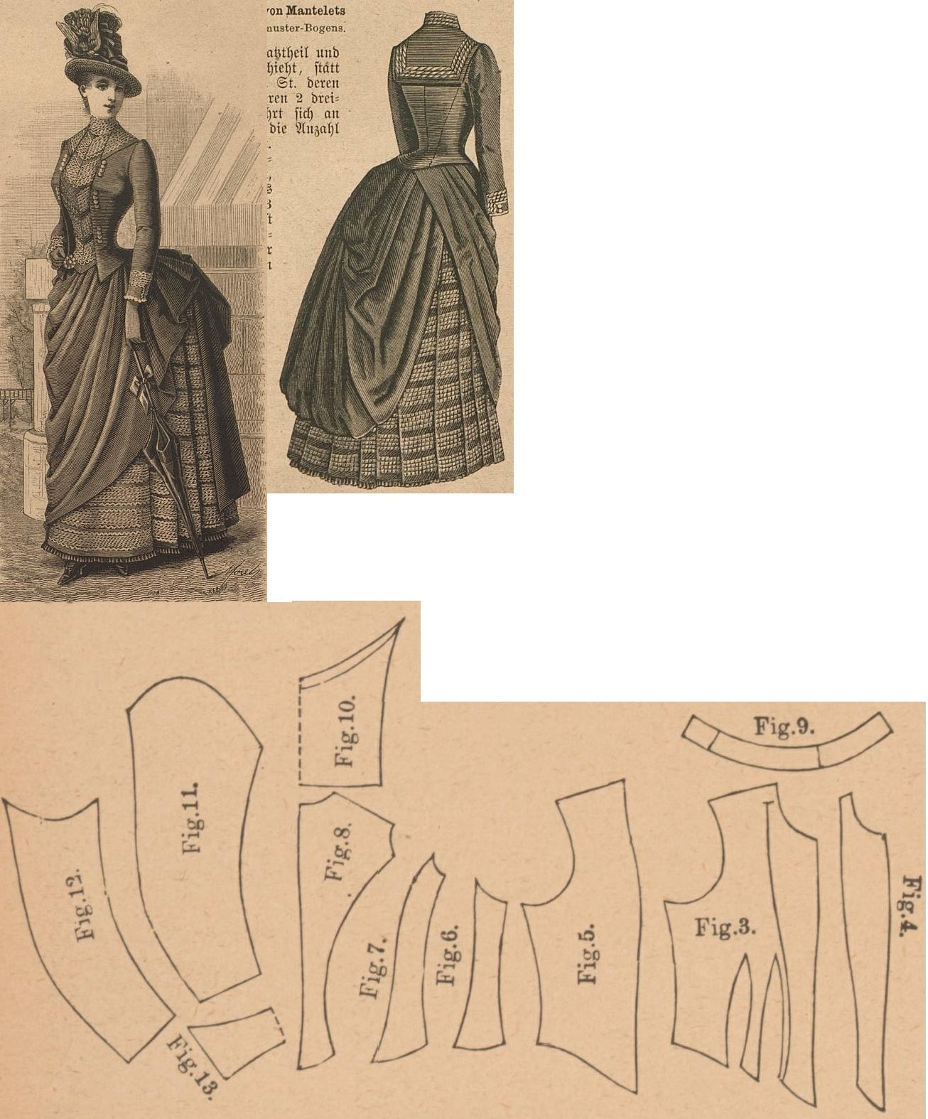 Der Bazar 1886: Summer dress from blue etamine fabric with á jour trimming; 3. bodice's front lining part, 4. plastron, 5. bodice's front over part, 6. and 7. side gores, 8. back part, 9. standing collar, 10. sailor collar in half size, 11. and 12. sleeve parts, 13. cuff in half size