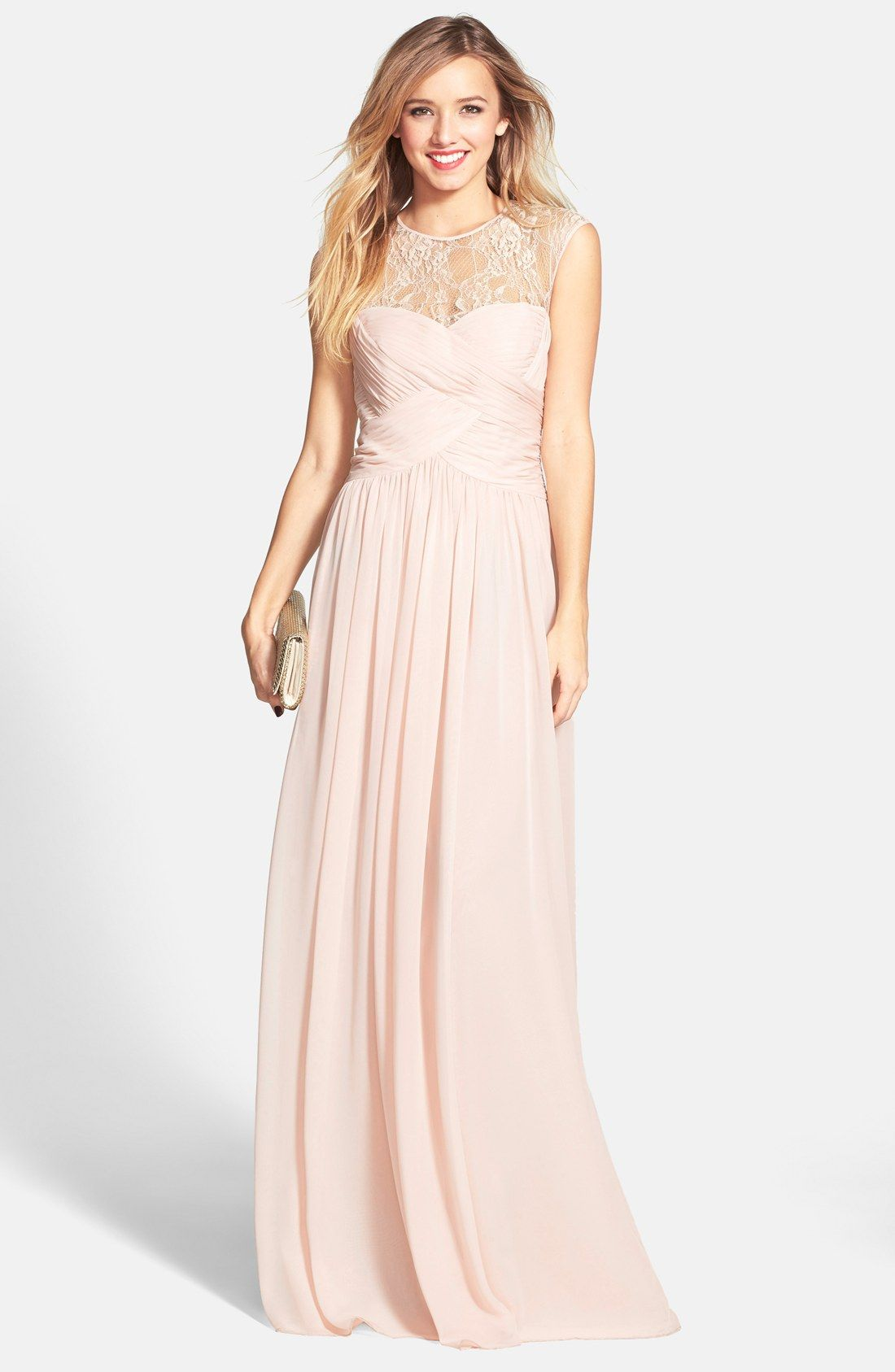 JS Boutique Lace Yoke Ruched Chiffon Gown | Blush pink | Pinterest ...