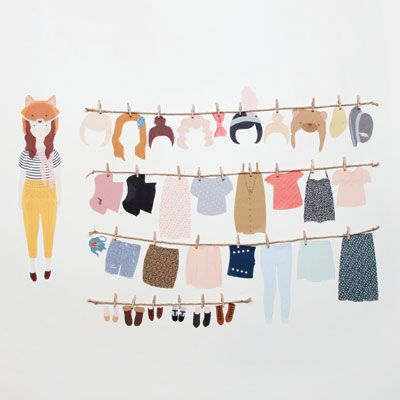 dress up doll - reusable fabric wall decals
