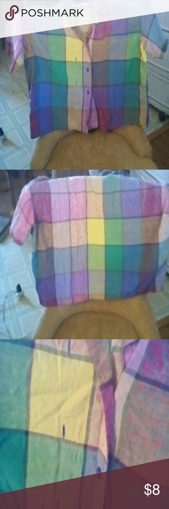 Shirt Colorful plaid, cotton short shirt.  You can button it two different ways.  It's darling on.  Gently used. Thanks for stopping by! Flower Tea Tops Button Down Shirts