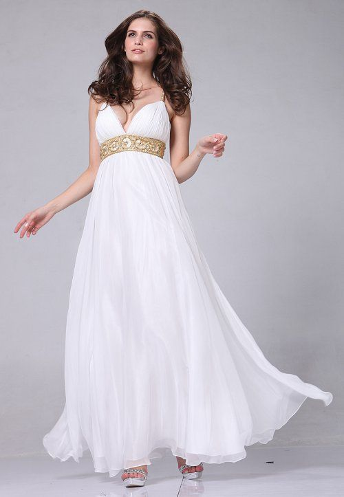Chiffon Formal White Greek Style Dress Prom Wedding Full Length Gown