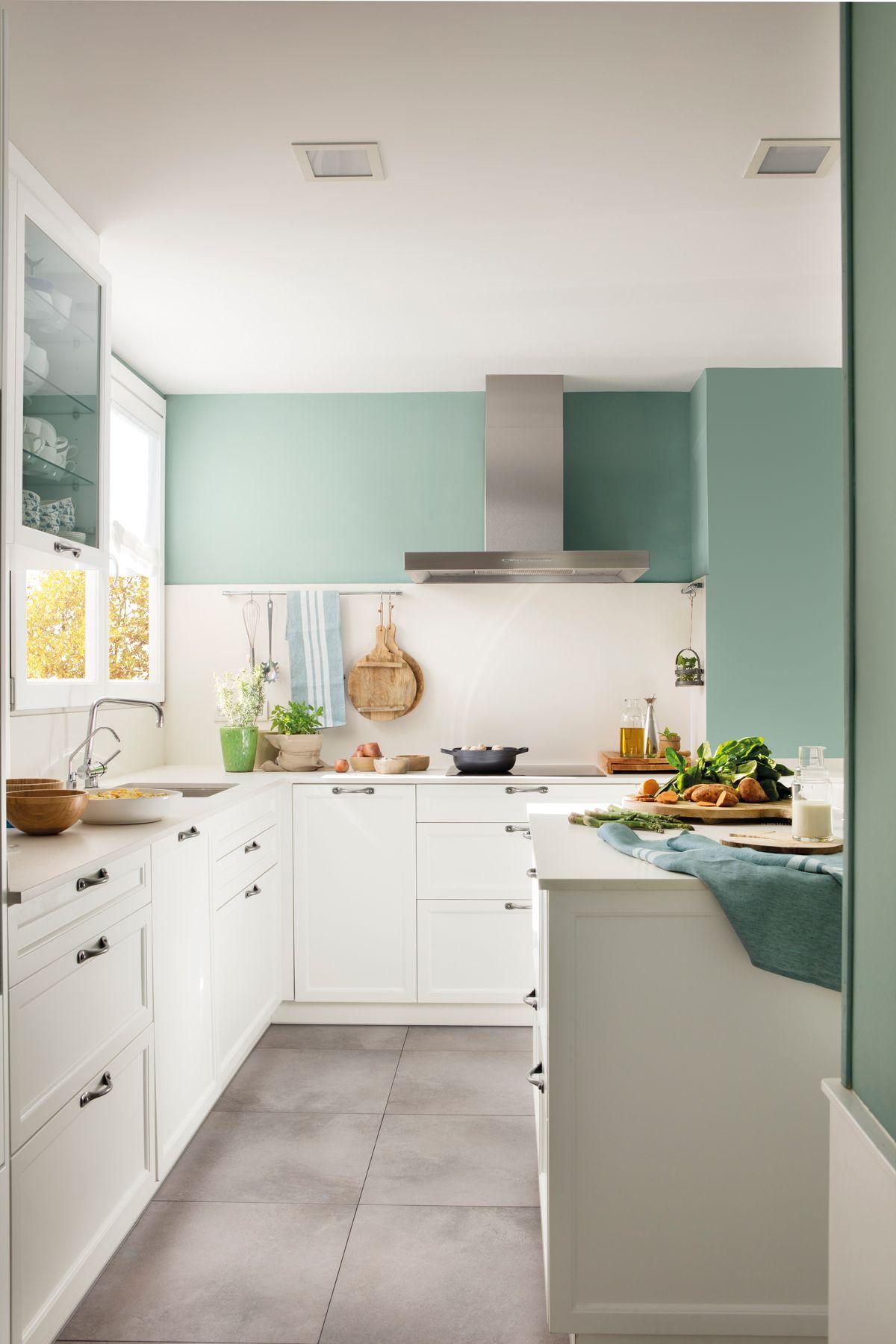 Muebles de cocina - ElMueble | Paredes pintadas de verde, Cocina ...