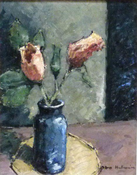 Hellmeier, Otto 1908 Weilheim-1996 München, Teerosen in der Vase, rechts unten signiert, rückseitig bezeichnet und datiert 1982, 22x18 cm, im Rahmen